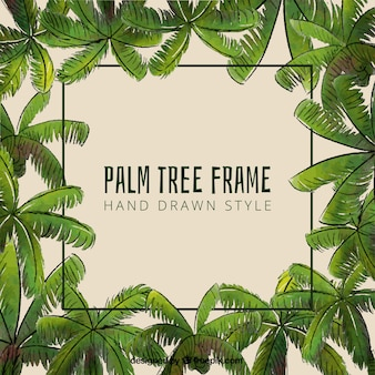 Decorative frame with hand drawn palm leaf