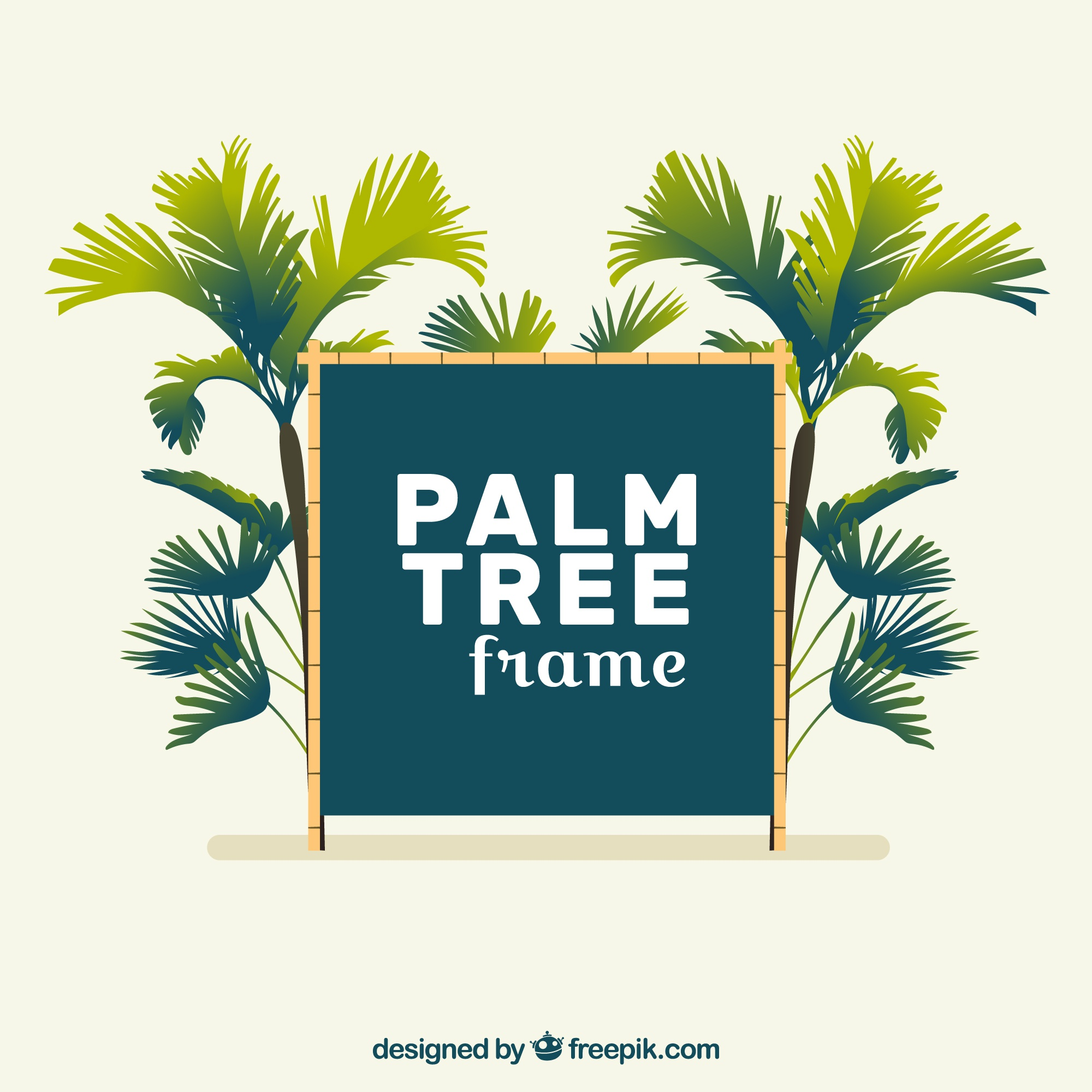 Decorative frame with palm trees