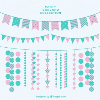 Decorative garlands in pastel colors