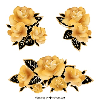 Decorative golden roses