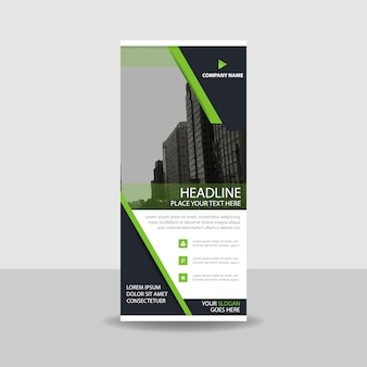 Decorative green commercial roll up banner