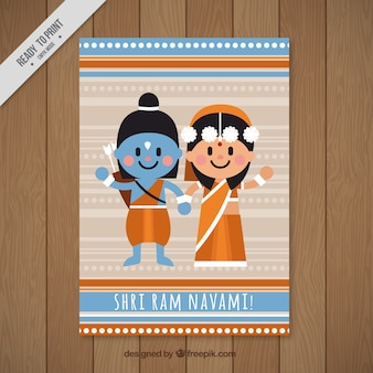 Decorative greeting card for ram navami in flat design