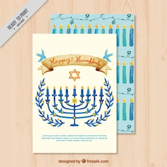 Decorative greeting card with candelabra and birds for hanukkah