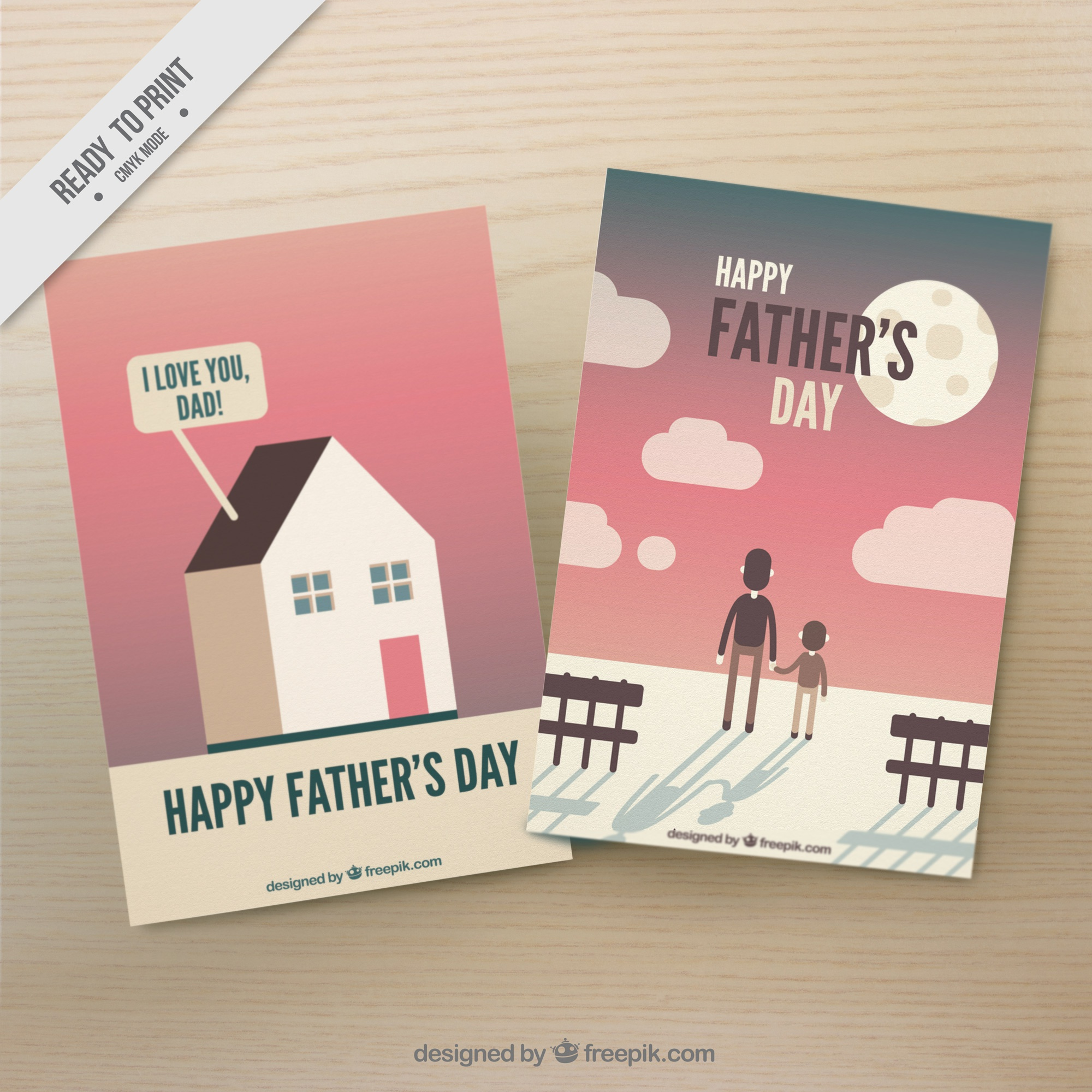 Decorative greeting cards in flat design for father's day