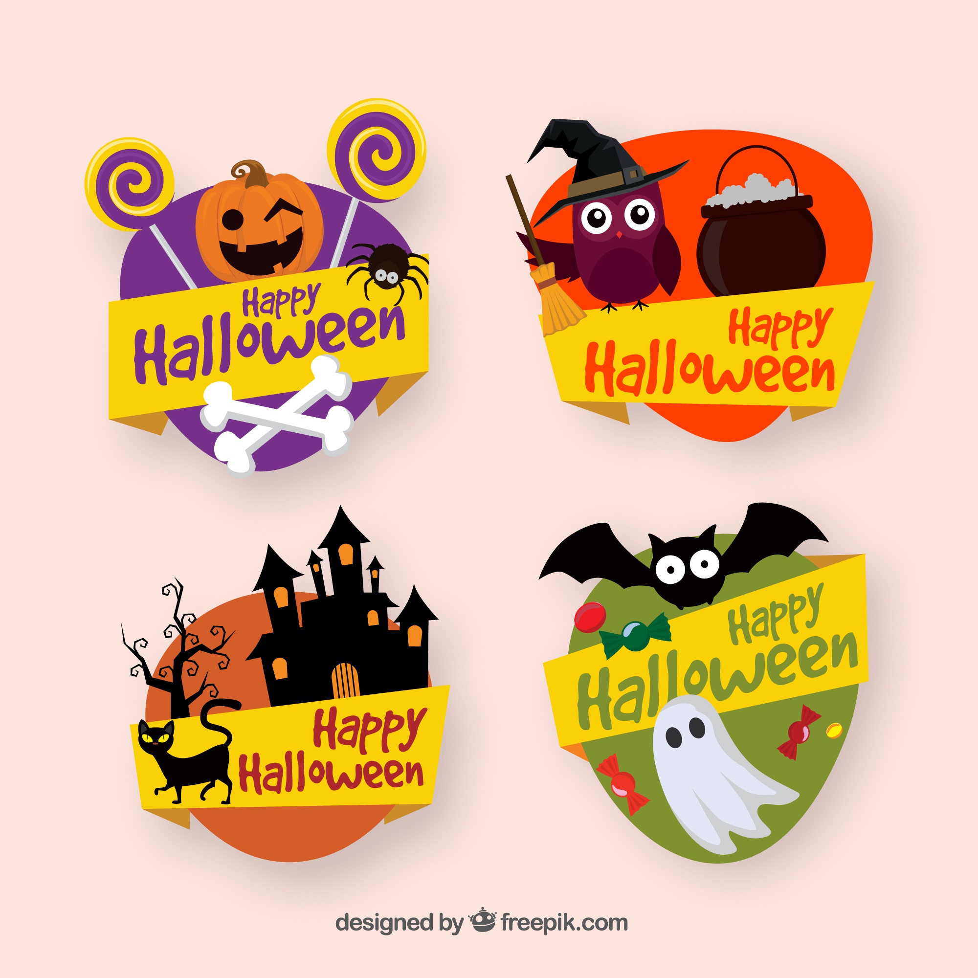 Decorative halloween labels collection