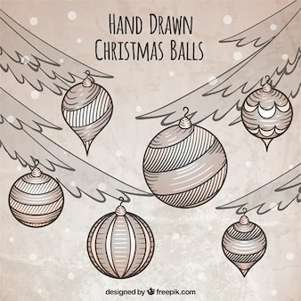 Decorative hand-drawn balls with christmas trees