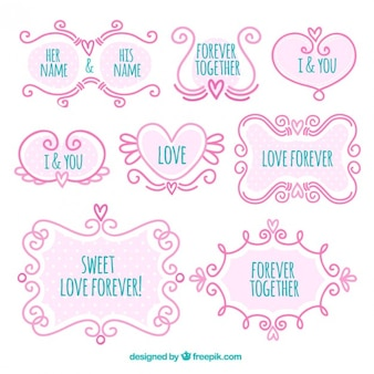 Decorative hand drawn love frames in vintage style