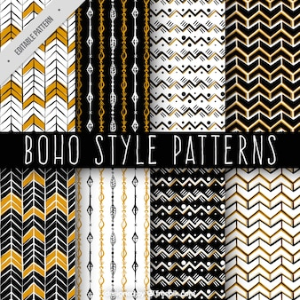 Decorative hand drawn patterns in boho style