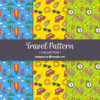 Decorative hand drawn travel patterns