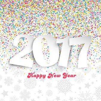Decorative happy new year background with colourful confetti