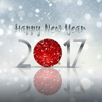 Decorative happy new year bauble background