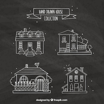 Decorative houses in hand-drawn style