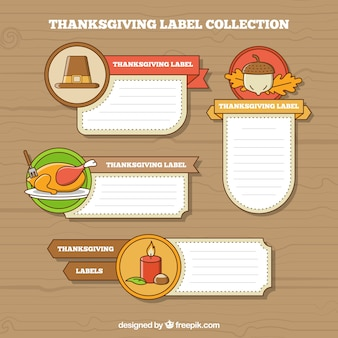 Decorative labels with thanksgiving elements