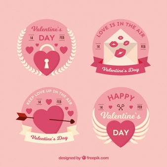 Decorative labels with white details for valentine's day
