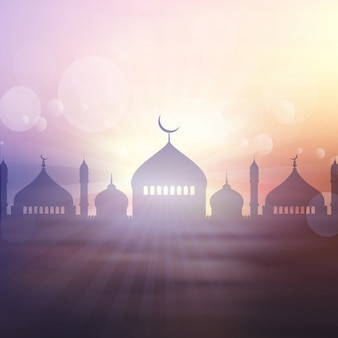 Decorative landscape background for ramadan