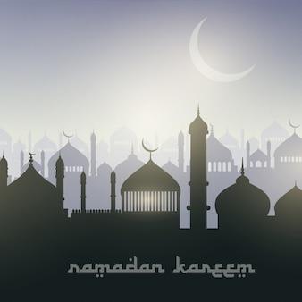 Decorative landscape background for ramadan