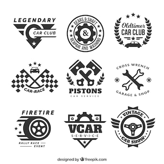Decorative logos with car elements
