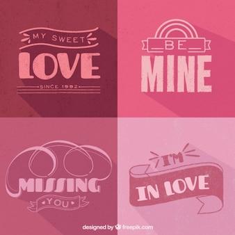Decorative love badges in purple tones
