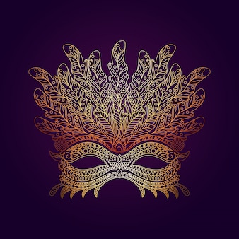 Decorative mask in hand-drawn style
