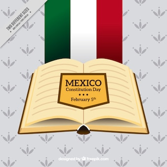 Decorative mexico constitution day background with open book