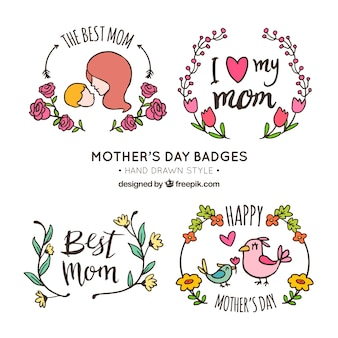 Decorative mother's day badges with hand-drawn elements