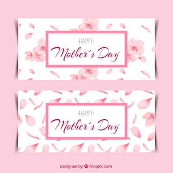 Decorative mother's day banner with pink flowers and petals