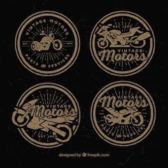Decorative moto badges in retro style