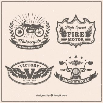 Decorative motorbikes badges in retro design