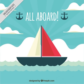 Decorative nautical background with ship in flat design