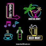 Decorative neon lights placards with different colors
