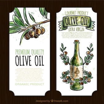 Decorative olive oil labels in watercolor style