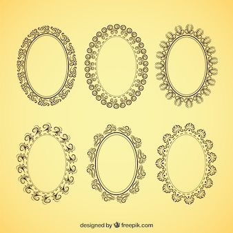 Decorative oval frames in vintage style
