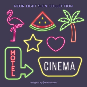 Decorative pack of neon light signs