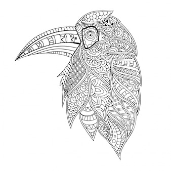 Decorative parrot in ornamental style