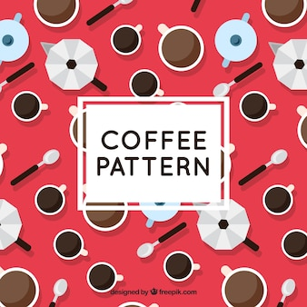 Decorative pattern of coffee shop in flat design