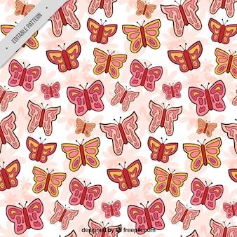 Decorative pattern of hand drawn butterflies