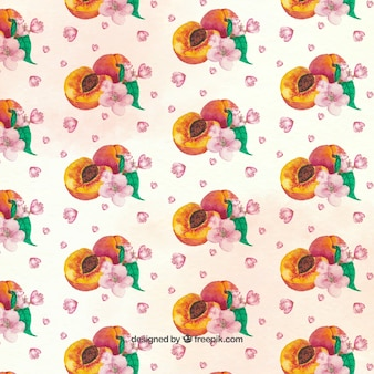 Decorative pattern of peaches and pink flowers