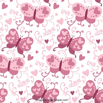 Decorative pattern of pink butterflies and hearts