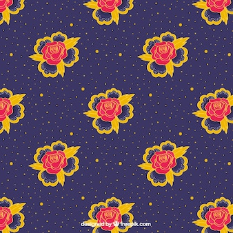 Decorative pattern of roses and yellow dots