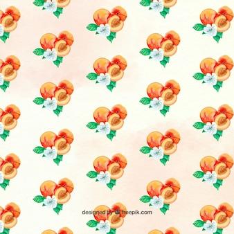 Decorative pattern of watercolor peaches