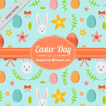 Decorative pattern with eggs and cute rabbit for easter day