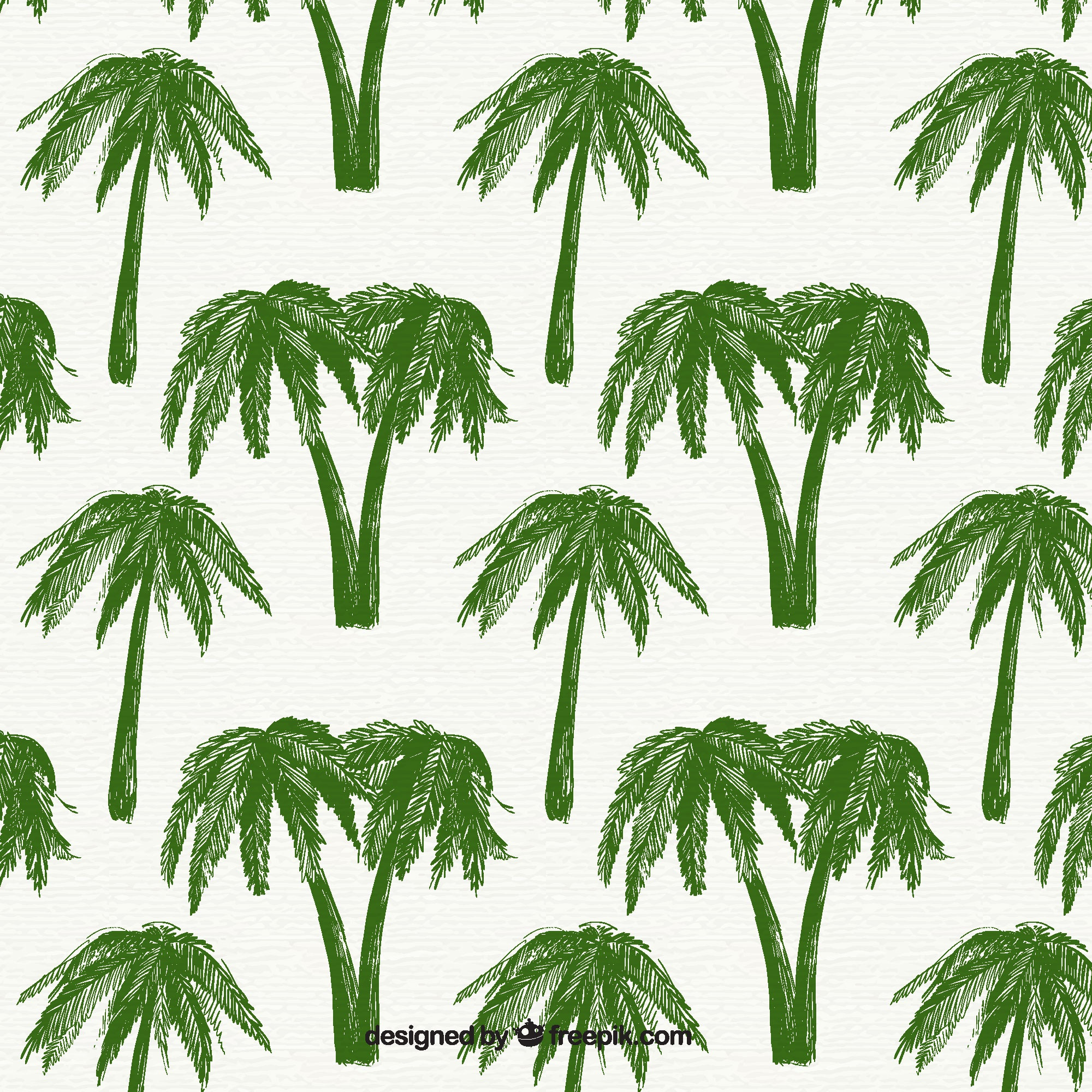 Decorative pattern with green palm trees