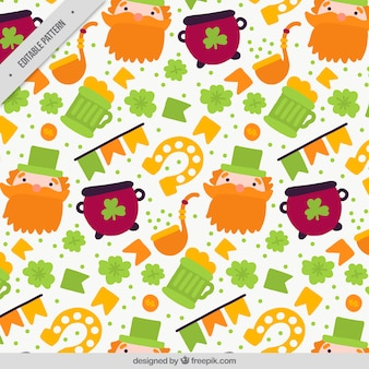Decorative pattern with hand-drawn items for st patrick's day