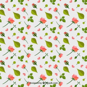 Decorative pattern with roses and leaves in flat design