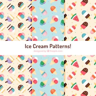 フラットデザインのアイスクリームの装飾模様
