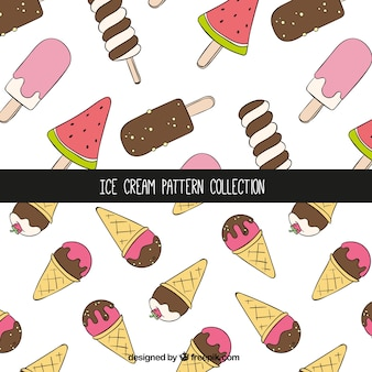 Decorative patterns with ice creams in hand-drawn style
