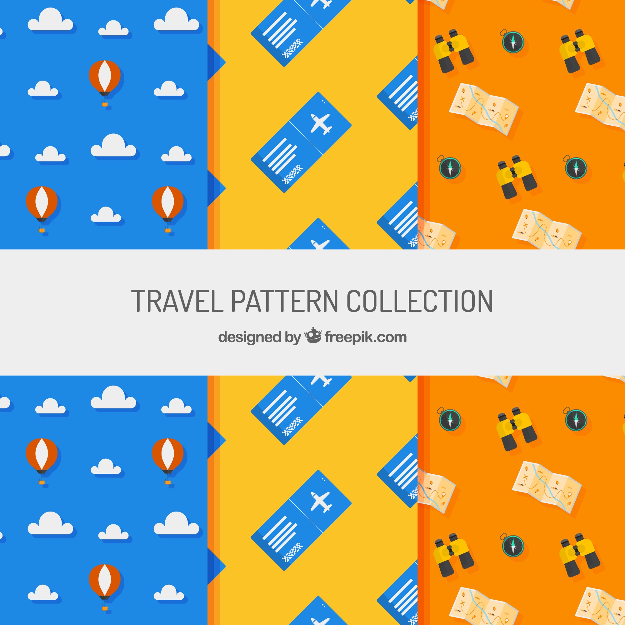 Decorative patterns with travel elements in flat design