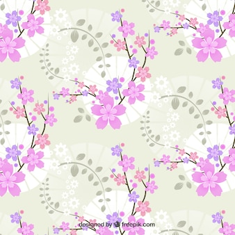 Decorative pink flowers background in vintage style