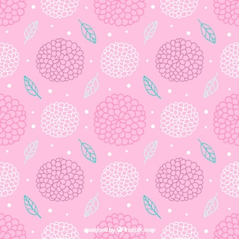 Decorative pink pattern abstract of hand drawn flowers