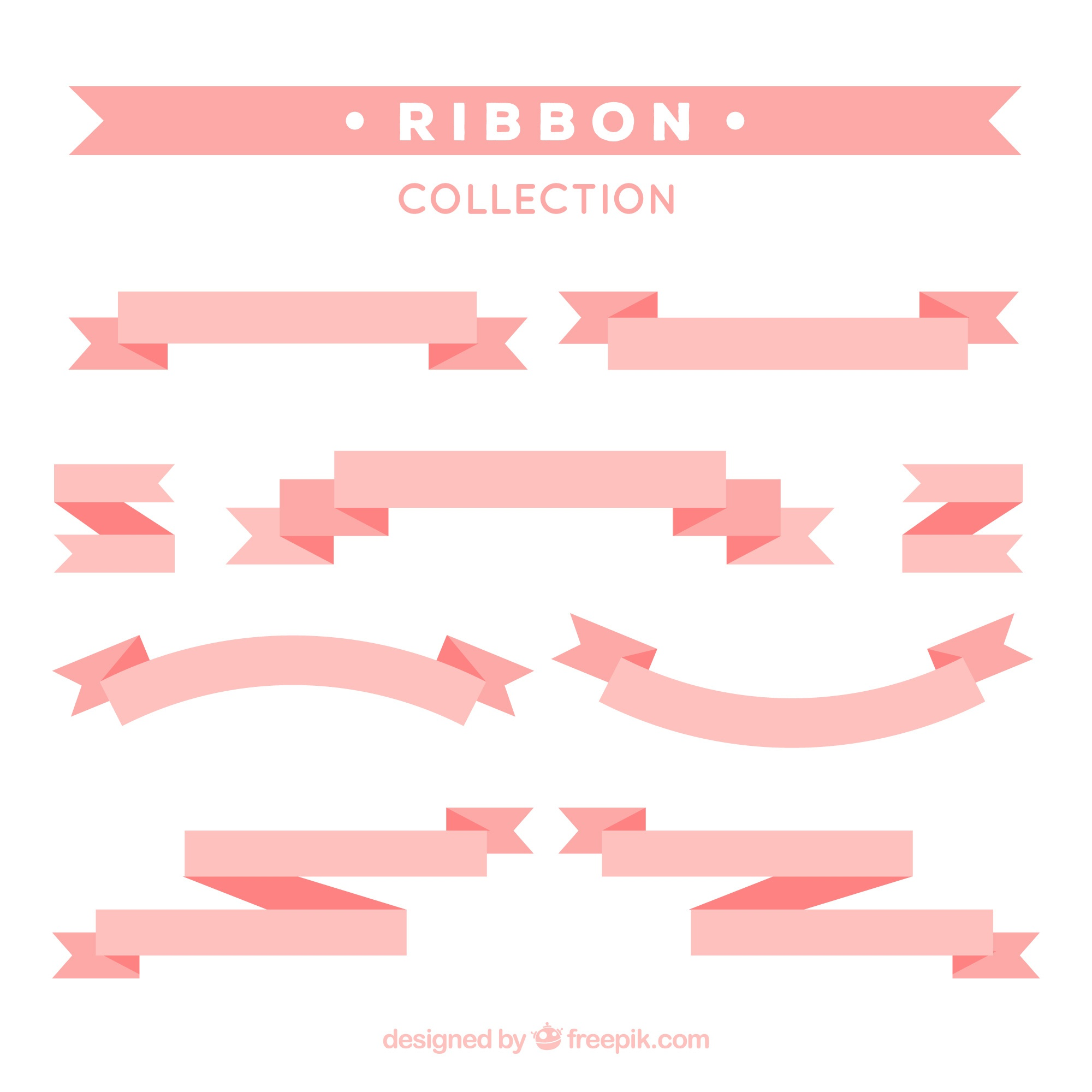 Decorative pink ribbons in flat design